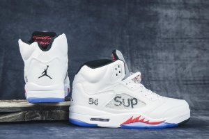 Кроссовки NIke AIR JORDAN 5 RETRO MID white/red/black