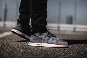 Кроссовки Adidas ZX500 RM Boost Grey Five/White-Clear Orange